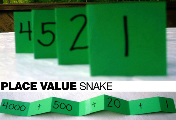 Place Value Snake: To help kids understand place value and numbers in expanded form, create a place value snake - genius! Cut a long strip of paper, fold it accordion style, and fill in the blanks (thousands, plus sign, etc.) Add a tongue and eyes if you'd like!