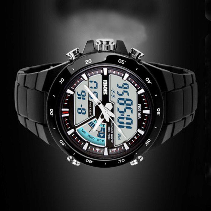 SKMEI 1016 Men's Waterproof Analog + Digital Sports Watch - Black
