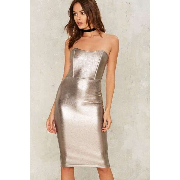 Fully Liquid Metallic Dress ($48) ❤ liked on Polyvore featuring dresses, silver, metallic dress, bodycon dress, strapless midi dress, metallic bodycon dress and zipper bodycon dress