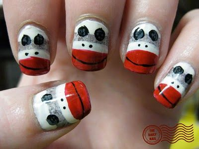Sock Monkey Nail Art from the Daily Nail Blog.  She completed a personal challenge to create 365 different nail designs in 365 days.