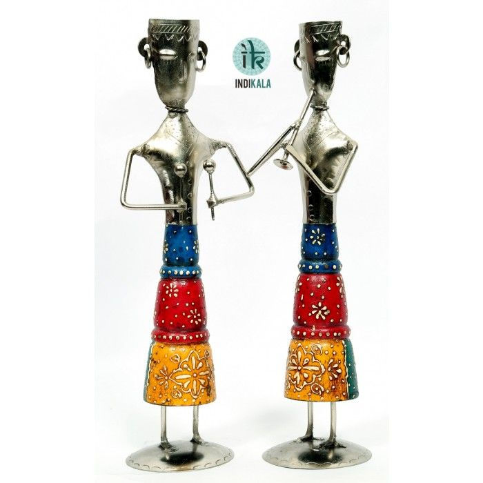 Extremely Graceful and delicate pair of standing musicians playing flute and hand jingles.Add feather to your Showcase @10% off - 1889/- Order Now! http://bit.ly/1qgsHpd