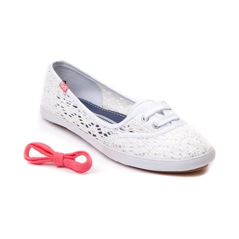 Shop for Womens Keds Teacup Crochet Flat in White at Journeys Shoes. Shop today for the hottest brands in mens shoes and womens shoes at Journeys.com.Keep it cute, easy, and casual all season long with this versatile Teacup skimmer from Keds. The Keds Teacup Crochet Flat features a crochet upper, two eyelet lace-up, slip-on design for easy on-and-off, cushioned footbed, and low profile rubber sole for durable support. Includes an addiitonal set of coral laces for an added touch of color!