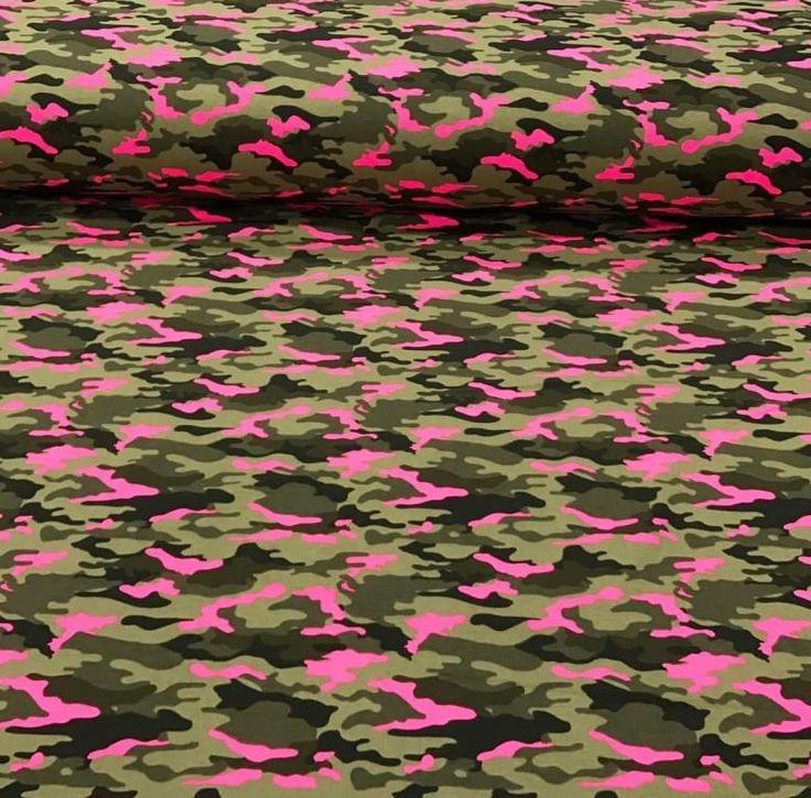 Tricot Legerprint neon roze - Megastoffen.nl