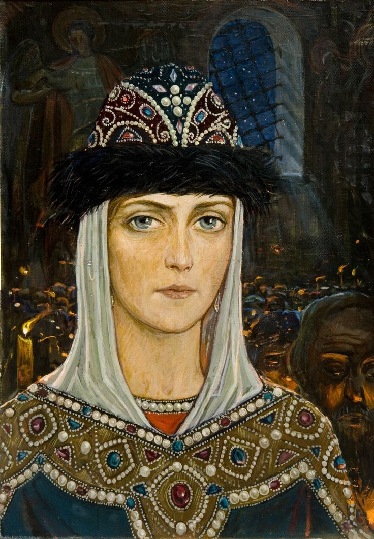 Princess Eudoxia in the Temple by Ilya Glazunov, from the cycle The Kulikovo Field, 1980.