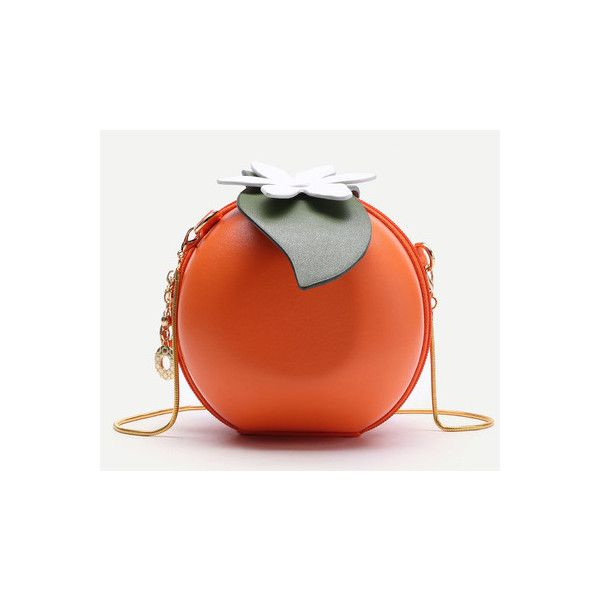 Orange Shaped Cute Crossbody Bag With Chain featuring polyvore women's fashion bags handbags shoulder bags orange crossbody purse chain crossbody cross-body handbag crossbody chain purse orange shoulder bag