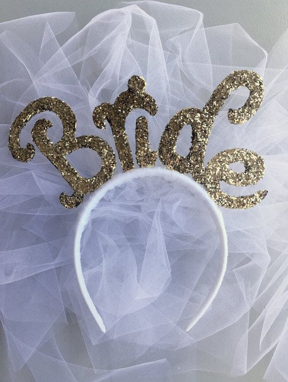 Gold Bride Headband with Veil, Bachelorette Party Accessory