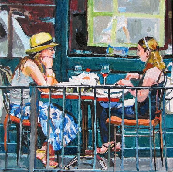 Items Similar To Cafe Painting Al Fresco Cafe Art Print, Friendship. New  York City Dining Greenwich Village Painting By Gwen Meyerson On Etsy