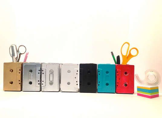 Old Cassette Tapes hot glued together to make storage cubes, so cute!