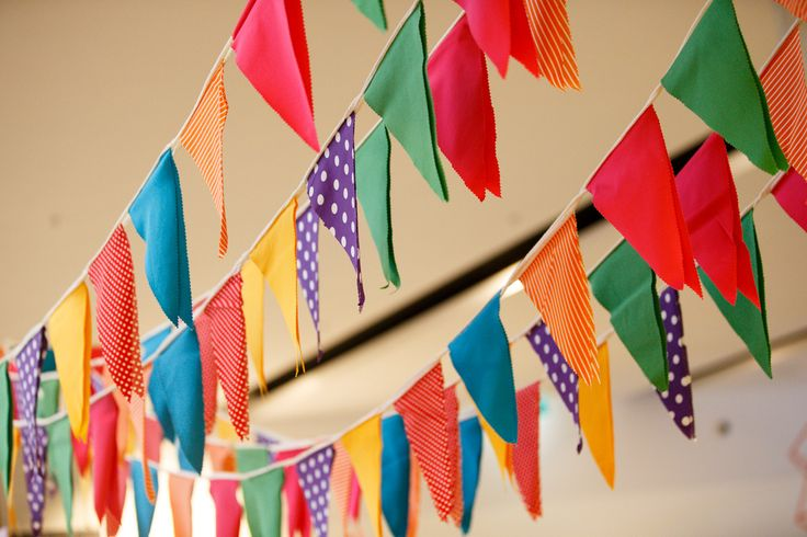 Colourful bunting at our September Shopping Day