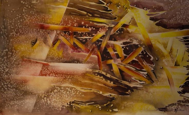 'Cheerfully Empurple' by Benjaminas. Medium: Watercolour. Fine Art Supplier - Drai Fine Art.