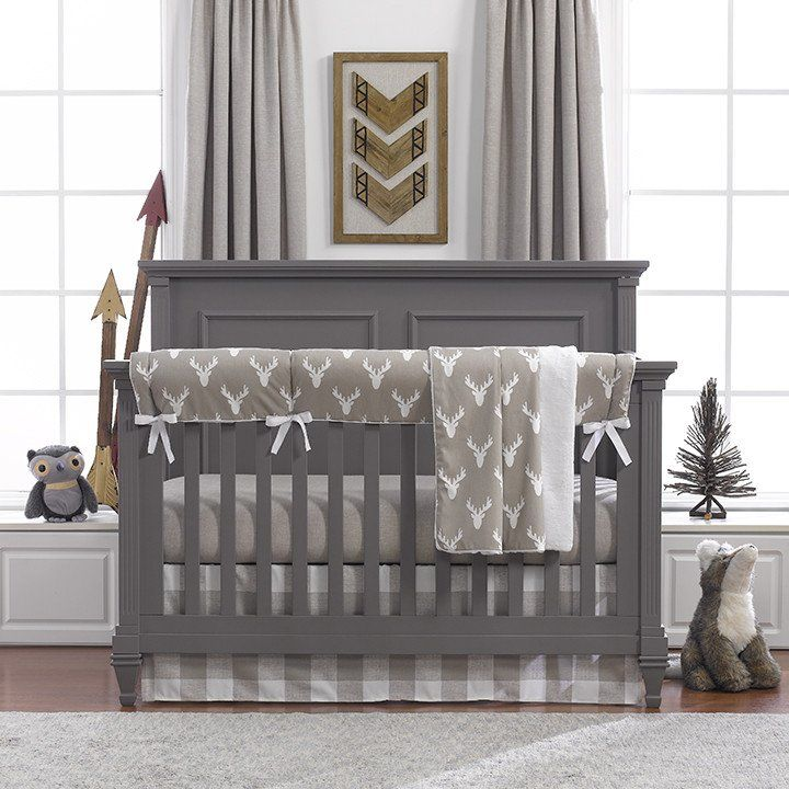 Buck Woodland (Tan) Bumperless Crib Bedding