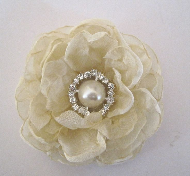 Gorgeous Two Tone Cream Ivory Chiffon Flower Hair Clip Bride Bridesmaid Mother of the Bride Prom with a Pearl and  Rhinestone Accent by theraggedyrose on Etsy