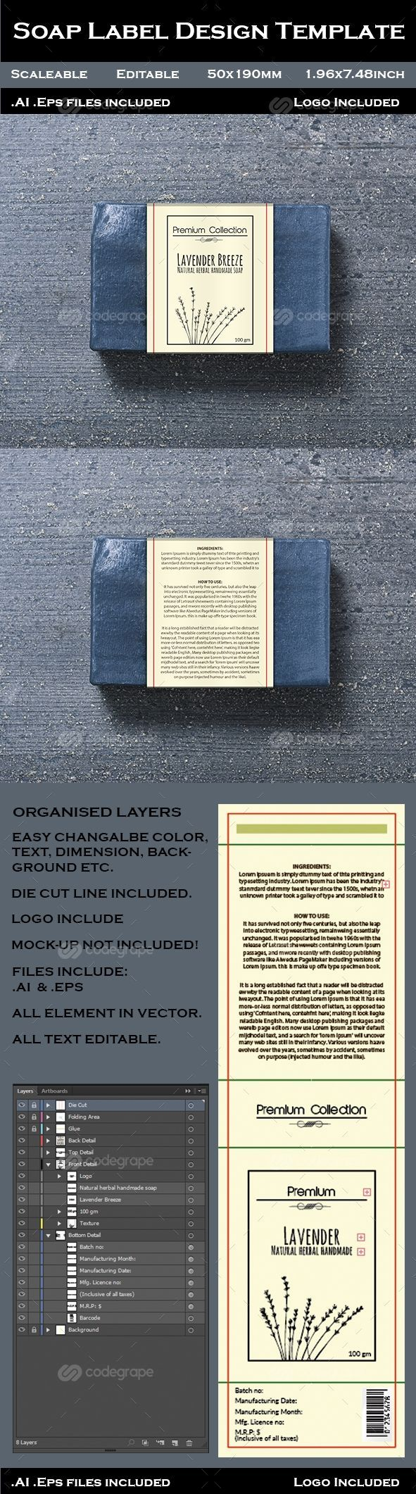 Soap Label Design Template on @codegrape. More Info: https://www.codegrape.com/item/soap-label-design-template/10666