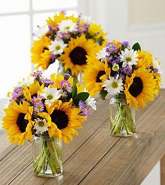 Sunflower Fields Petite Bouquet Trio - 3 Petite Jars Included