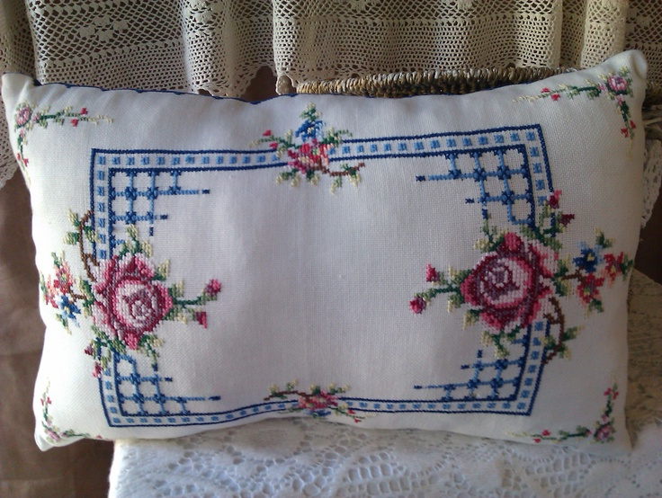 Lovely Roses Cross stitched poly filled cushion $12