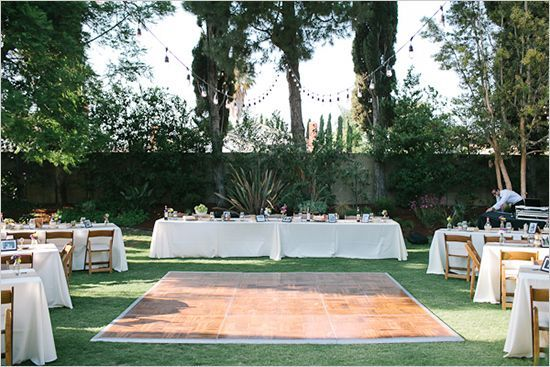 backyard wedding ideas dont like the tables but I like the concept of tables surrounding a dance floor My Wedding Pinterest