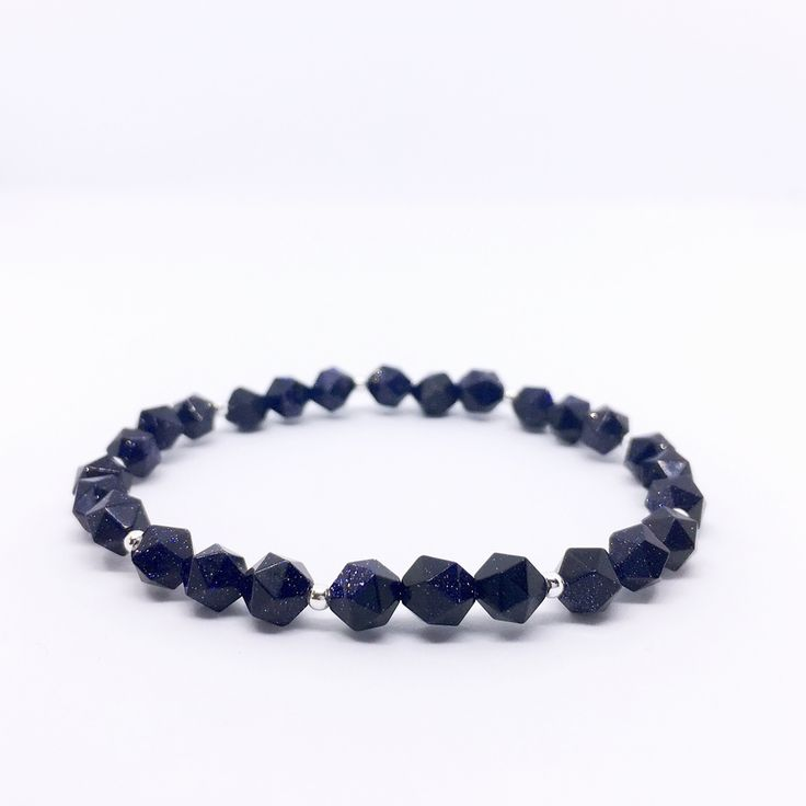 """""""Midnight"""" Blue Goldstone Bracelet with Sterling Silver via That Stone Store_Handmade Gemstone Jewelry. Click on the image to see more!"""
