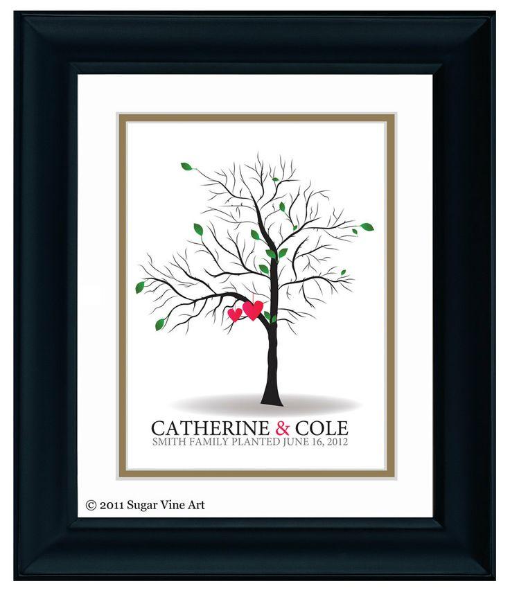 Small Fingerprint Live Oak Tree Wedding Guest Book Hand Drawn: 17 Best Ideas About Thumbprint Tree Wedding On Pinterest