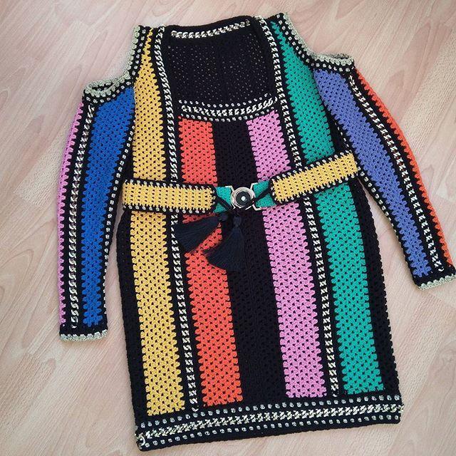 Finish 😘  #crochetdress #order #forB #taramayknit   #complete #knitdress #crochetfashion #multicolordress