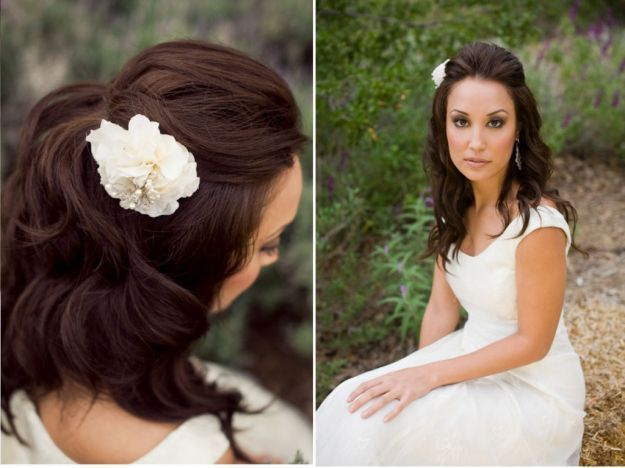 Романтическая свадебная прическа на средние волосы ::: onelady.ru ::: #hair #hairs #hairstyle #hairstyles