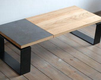 Mesa de centro contemporánea hecha a mano / Banco. Madera de