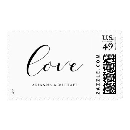 Modern Romantic | Black and White Love Wedding Postage - calligraphy gifts custom personalize diy create your own