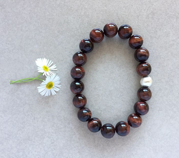 Red Tiger Eye Gemstone & Karen Hill Tribe Sterling Silver Beaded Bracelet, Unique Gift by TJBsimplebeauty on Etsy
