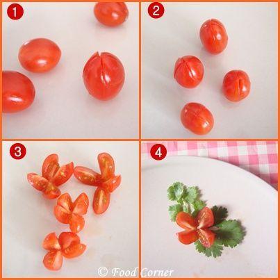 Cherry Tomato Flowers-Easy Plate Garnish Idea: