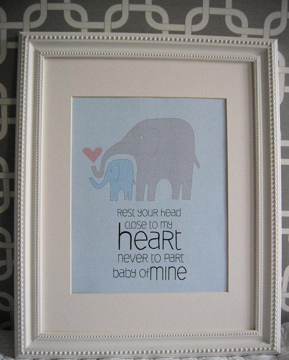 elephant nursery art: Sweet, Baby Mine, Prints Baby, Songs, My Heart, Elephants Nurseries Art, Elephant Nursery Art, Baby Rooms, Nurseries Prints
