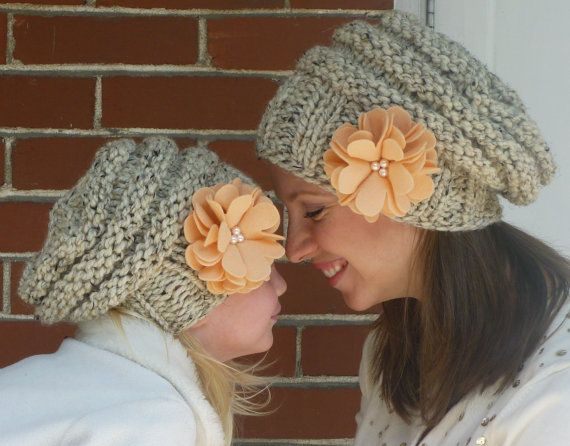 eda6957ae9061 spain etsy items similar to mommy and me matching hand knit slouch hats  with coconut buttons