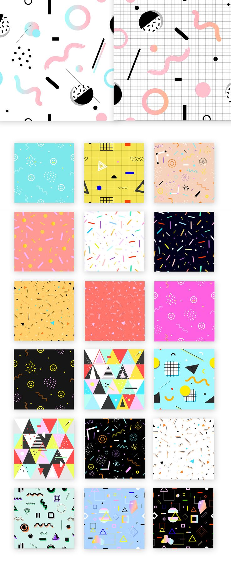 "Package of futuristic & Memphis design style patterns and backgrounds I made for my ""Pony Head"" shop on Creative market."