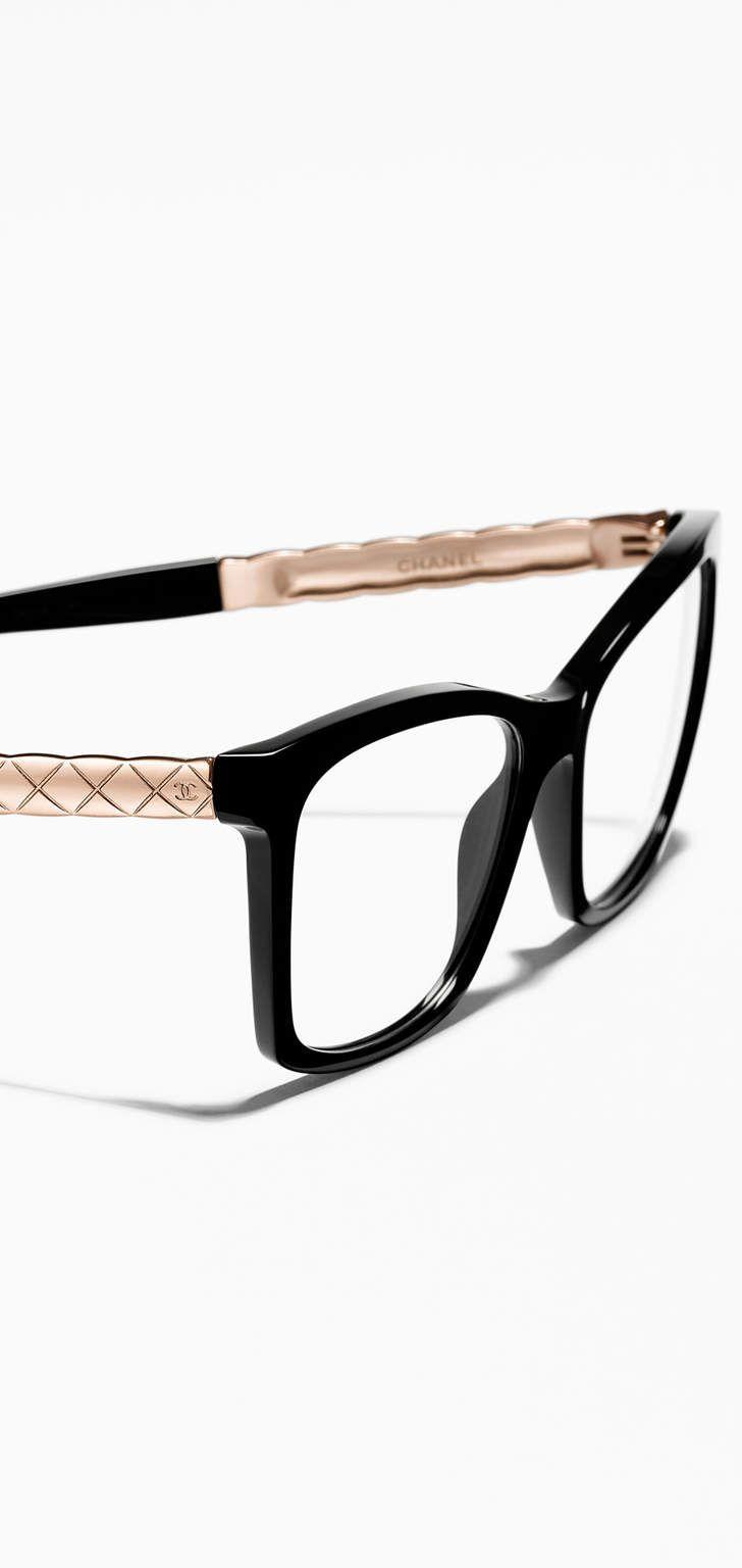 Óculos de grau quadrado, acetato & metal-preto - CHANEL