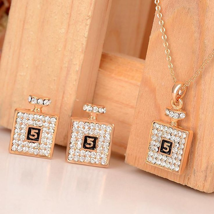 Jewelry Sets Gold Plated Austria Crystal pendant lace earring Bridal
