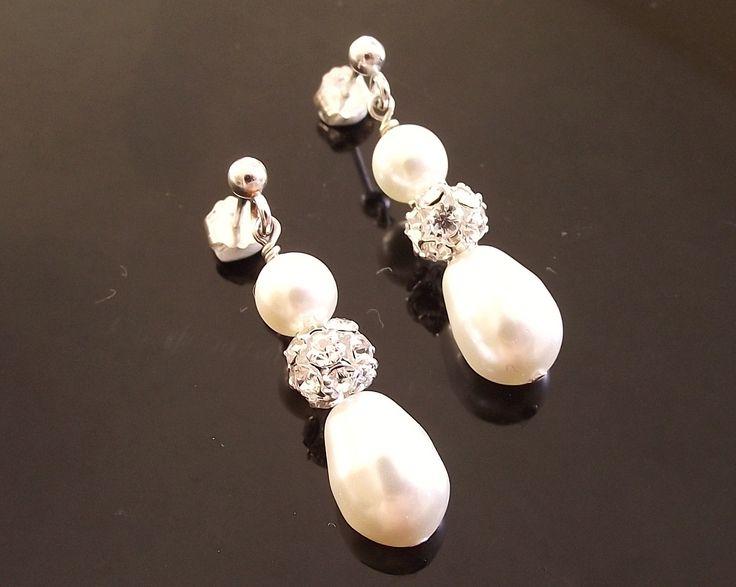 Teardrop Pearl & Crystal Encrusted Earrings, Moritz | The Wedding Hair Accessory and Bridal Jewellery Experts.
