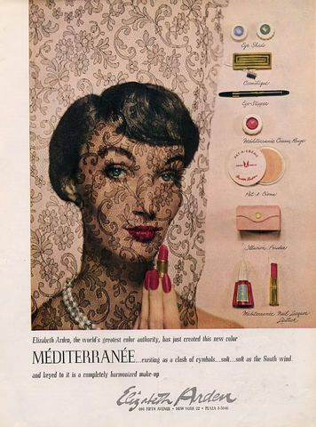 A lovely ad for Elizabeth Arden's Mediterranee line of cosmetics from 1950. #vintage #1950s