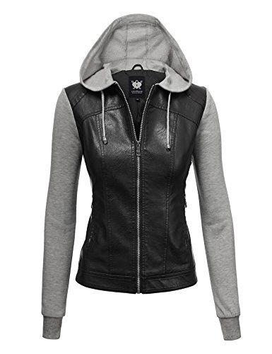 4dbd9f567f2 WJC1347 Womens Faux Leather Zip Up Moto Biker Jacket With... https