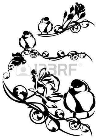 gül çiçeklerin arasında sevimli küçük kuş - siyah ve beyaz vektör tasarım öğesi photo