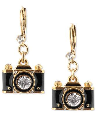 Betsey Johnson Gold-Tone Black Camera Crystal Drop Earrings - Jewelry Trends - Jewelry & Watches - Macy's