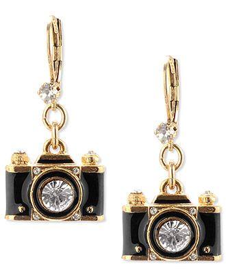 Betsey Johnson Earrings, Gold-Tone Black Camera Crystal Drop Earrings - Fashion Jewelry - Jewelry & Watches - Macys