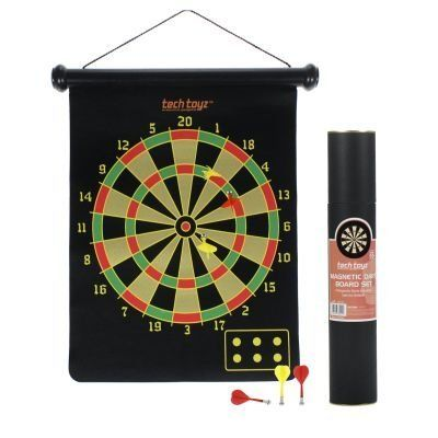 "Two-Sided Magnetic 11.5"" Diameter Dartboard Set Bullseye Target by Tech Toyz. $9.99. You don't have to go out to some loud biker-turned-hipster dive bar with over-priced beer to play darts. Gather your family and friends at your home for a friendly game. The Two-Sided Magnetic Dartboard Set by Tech Toyz can be hung just about anywhere. Unlike traditional darts, the magnetic darts are safe. So, you don't have to worry about the safety of the kids or your drunk, clumsy friends rui..."