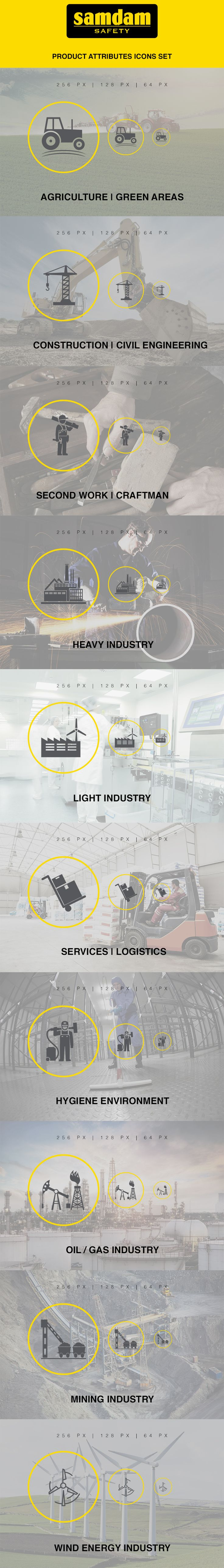 Product attributes Icons Set design & presentation for Samdam Safety