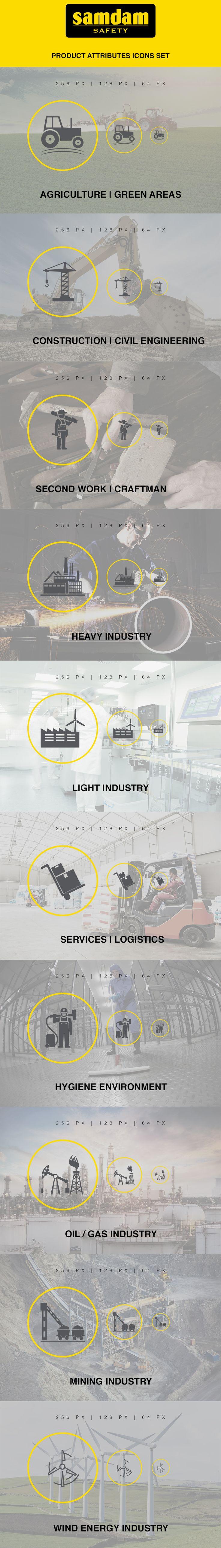 Product attributes Icons Set design & presentation for Samdam Safety