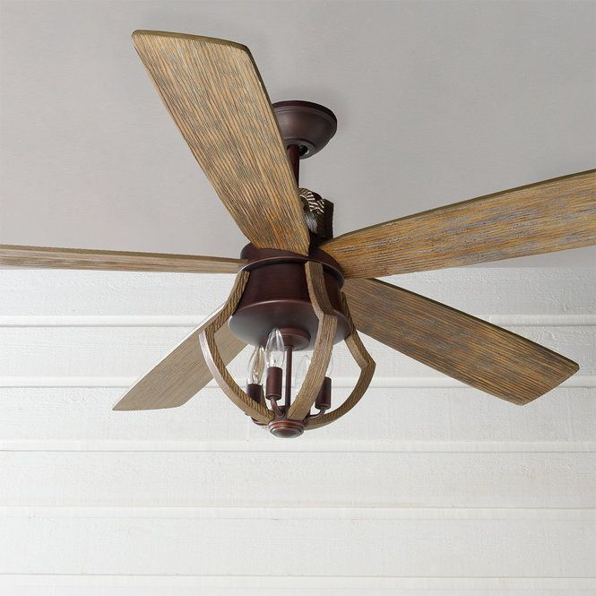 56 Indoor Rustic Wine Barrel Stave Ceiling Fan Ceiling Fan With