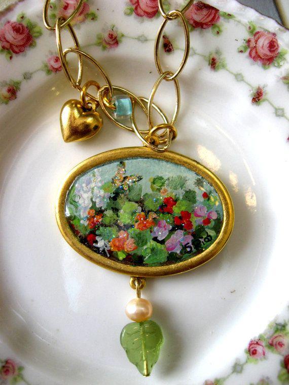 Nasturtiums Hand Painted Hand Made Necklace