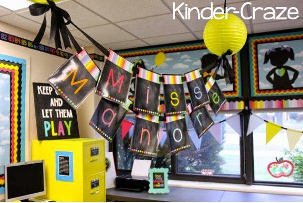 Rainbow chalkboard stripes classroom decor theme decorations school Created by Schoolgirl Style and Kinder-Craze www.schoolgirlstyle.com