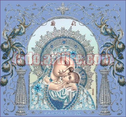 Beaded Embroidery DIY kit orthodox wedding icon Virgin Mary Korsunska