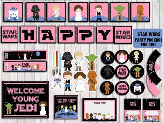 STAR WARS PARTY PACKAGE INSPIRED DIGITAL PRINTABLE FILE YOU PRINT  INSTANT DOWNLOAD   No physical items will be shipped to you  You will
