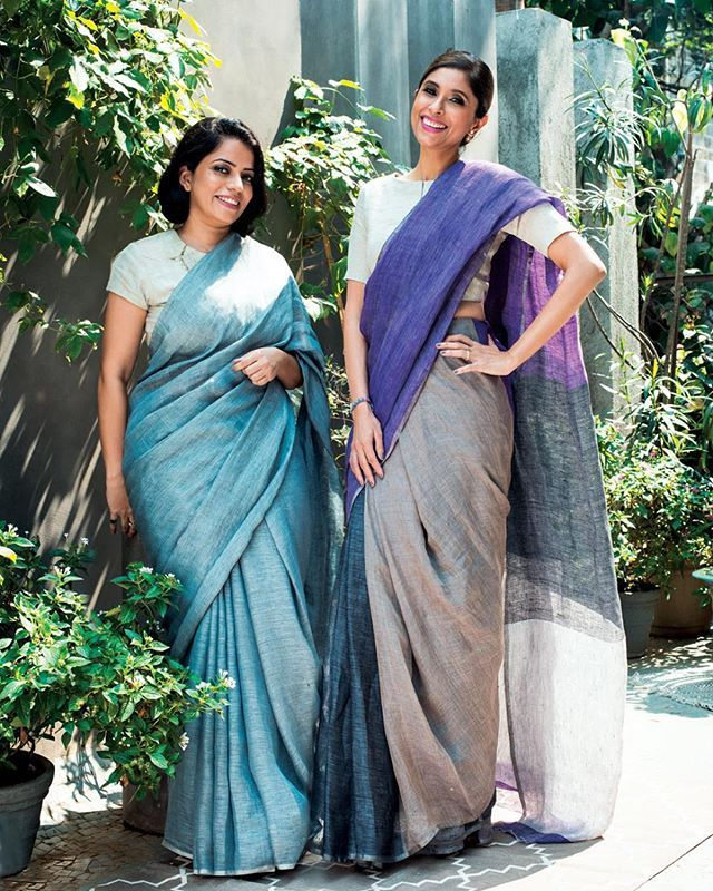 "#ELLEGraduates 2015 finalist @Anavila_M with @RoohiJaikishan is an unexpected pairing. ""I love that Anavila has captured simplicity with tactile luxury. Her linens with woven silver are chic, understated and still true to their legacy and tradition,"" says Jaikishan."