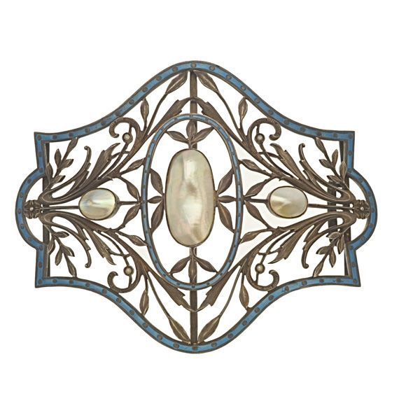 Art Nouveau Buckle from Russia, circa 1900, set with beautiful foliate silver work, enamel and three blister pearls!