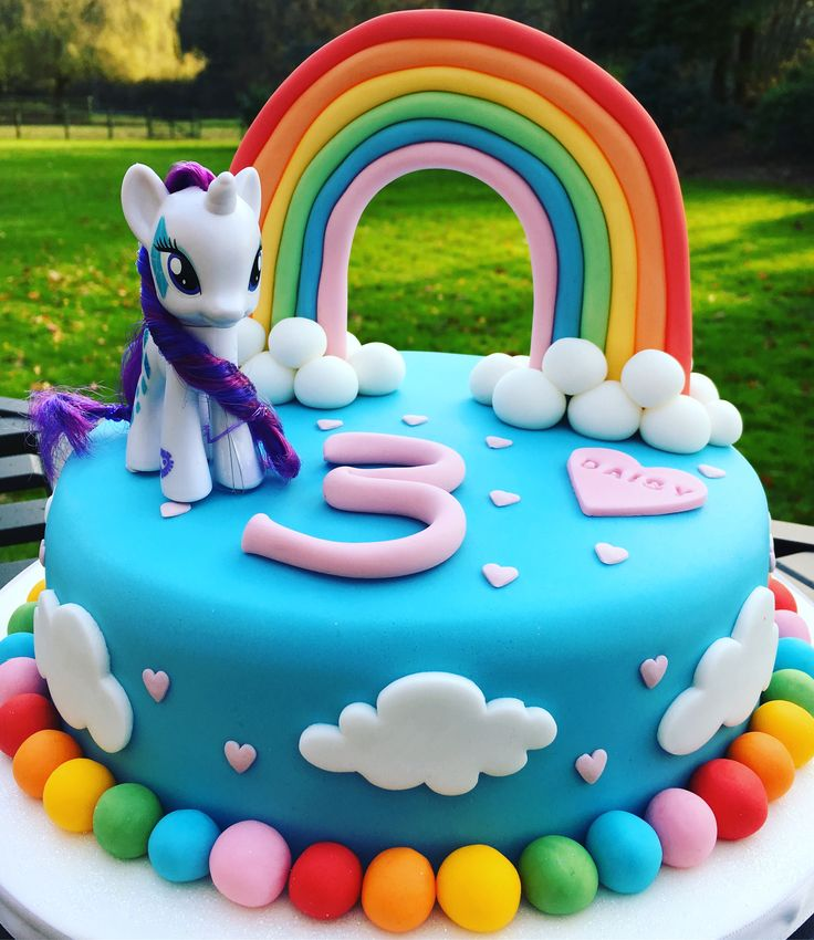 My Little Pony cake with 3D rainbow